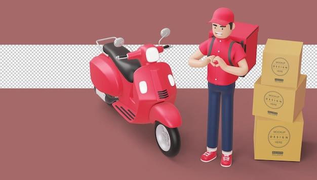 Entregador fazendo um formato de coração com as mãos e uma motocicleta de entrega em renderização 3d