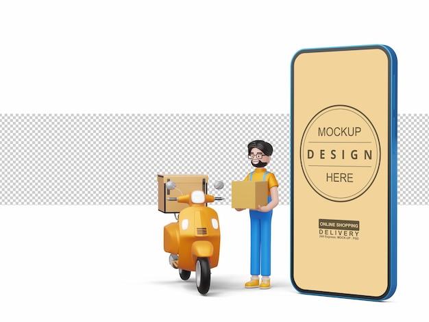 Entregador feliz segurando a caixa com o telefone e a motocicleta em renderização 3d