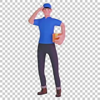 Entregador saudando com pacote ilustração 3d