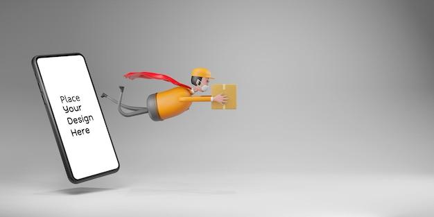 Entregador usando máscara protetora com maquete de telefone em renderização 3d