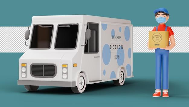 Entregador usando uma máscara e segurando um pacote com caminhão de entrega em renderização 3d