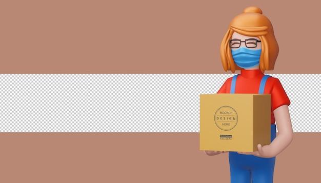 Entregadora segurando uma caixa de pacote, renderização em 3d