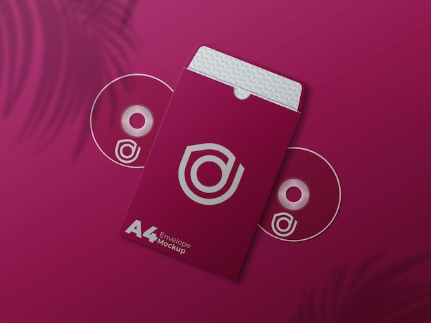 Envelope a4 aberto com modelo de disco dvd