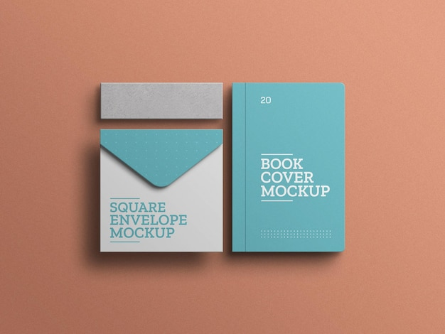 Envelope com maquete de conjunto de papelaria de capa de livro