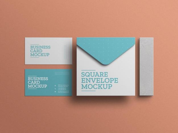 Envelope com modelo de conjunto de papelaria de cartão de visita