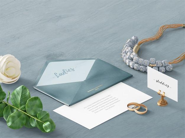 Envelope de casamento & cartão personalizado cena mockup