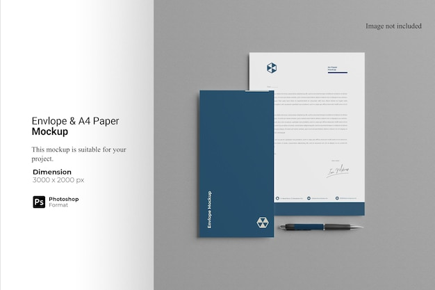 Envelope e maquete de papel a4
