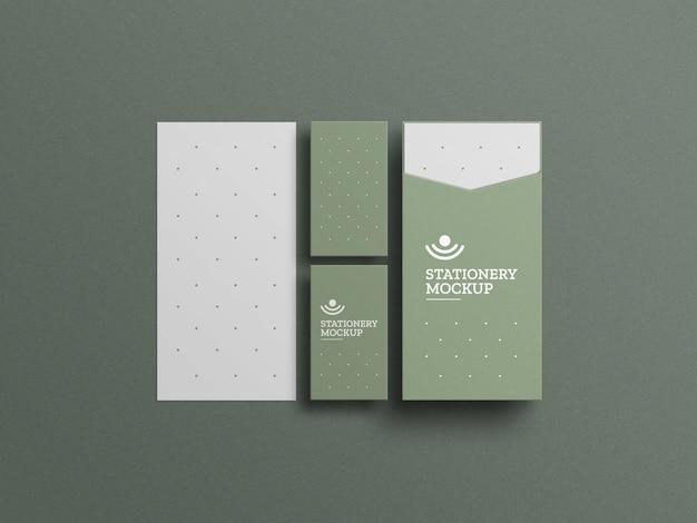 Envelope mínimo com maquete de cartão de visita