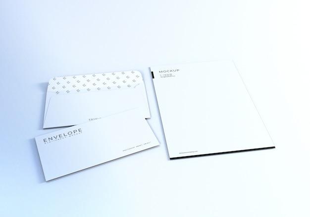 Envelope monarca realista limpo com maquete de papel timbrado Psd Premium