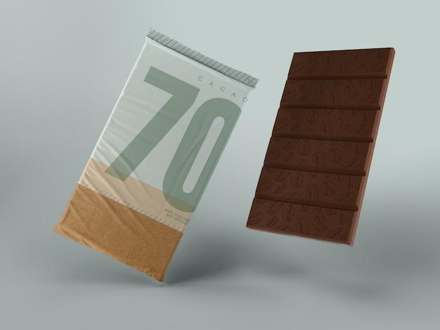 Envoltório plástico para o chocolate mock-up