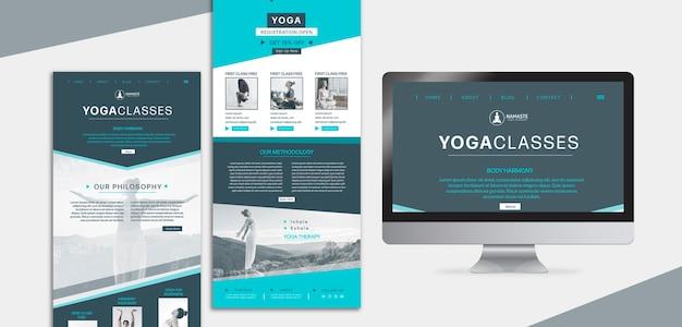 Equilibre sua página de destino da aula de ioga da vida