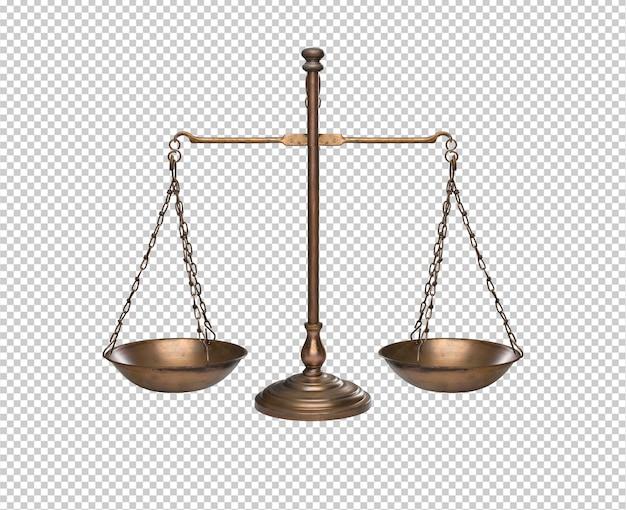 Equilíbrio dourado vintage ou escala isolado contra o fundo branco