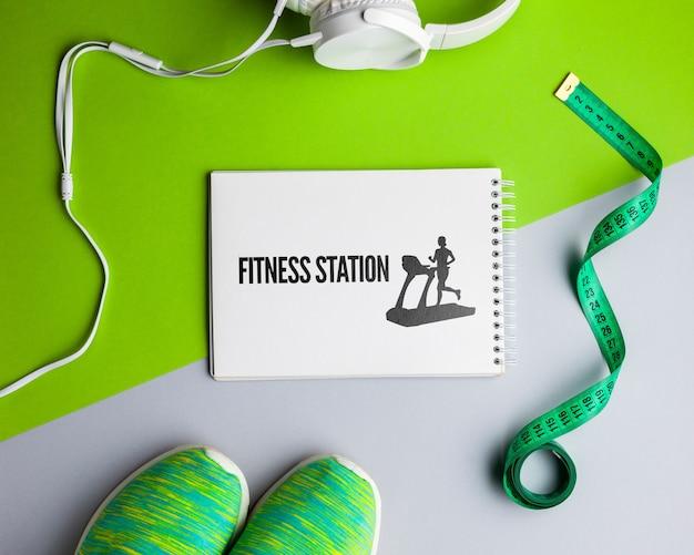 Equipamento de aula de fitness com maquete