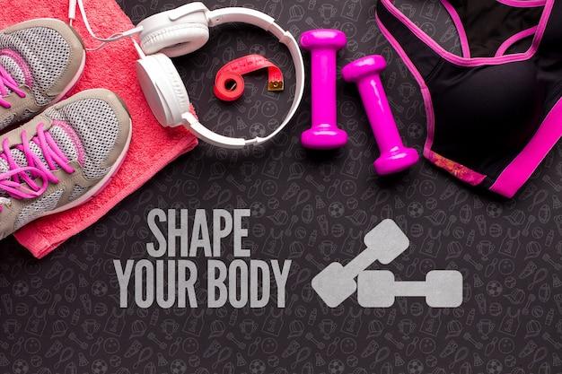 Equipamento de fitness com fones de ouvido