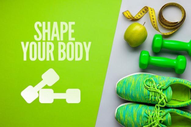 Equipamento de fitness e frutas
