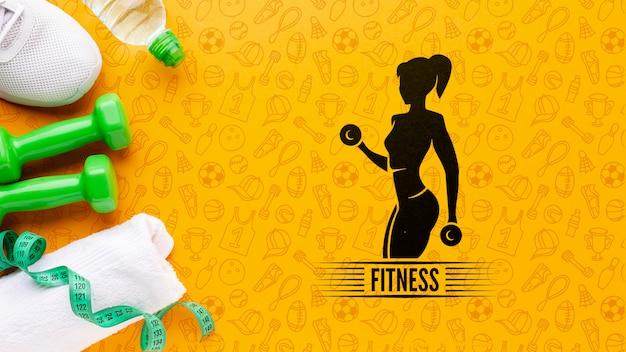 Equipamento de treino de fitness e água