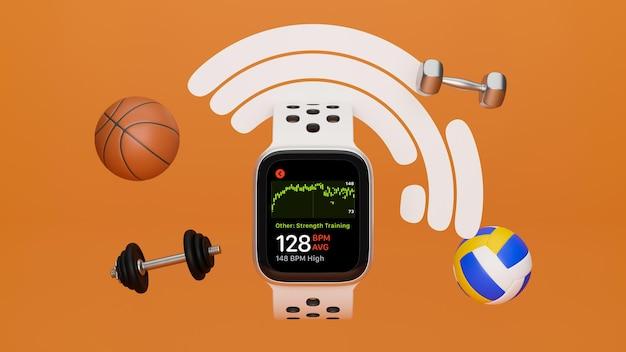 Equipamento esportivo smartwatch maquete haltere voleibol basquete barra em fundo laranja