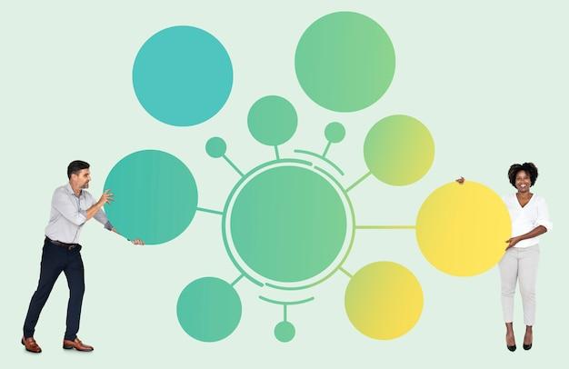 Equipe com placas redondas conectadas vazias
