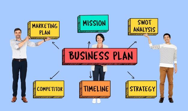 Equipe com um plano de negócios