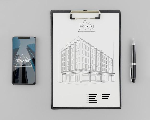 Esboço de arquitetura vista superior com maquete