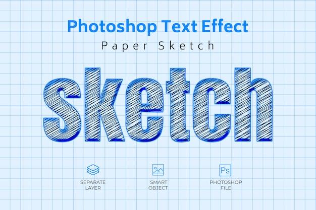 Esboço de papel do photoshop efeito de texto