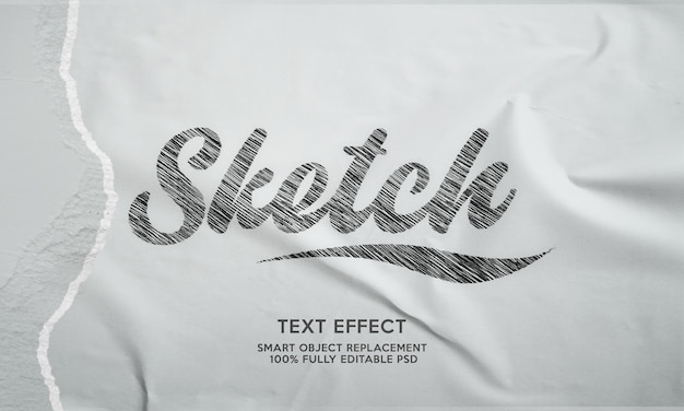 Esboço modelo de efeito de texto
