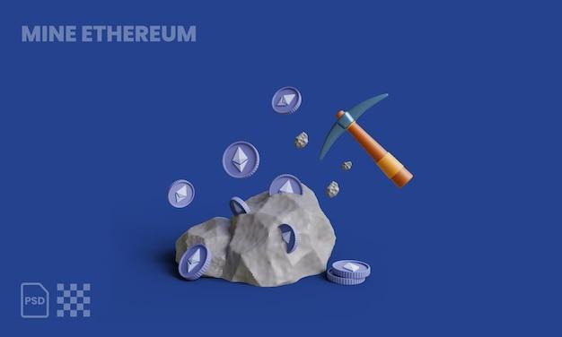 Escavando moedas de ethereum em rochas com picareta ilustração 3d rochas mineração de ethereum