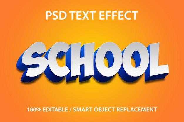 Escola de efeito de texto editável