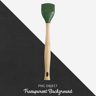 Escova de silicone verde com cabo de madeira