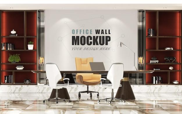 Escritório administrativo com maquete de parede com decoração moderna