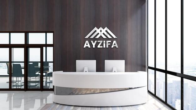 Escritório de maquete de logotipo 3d moderno em parede de madeira