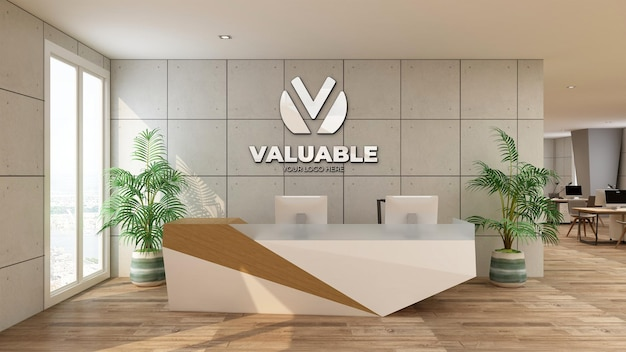 Escritório de maquete de logotipo prateado com design de interiores industrial na sala de recepcionista