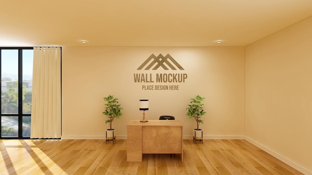 Escritório rústico elegante com modelo de parede 3d do logotipo da empresa