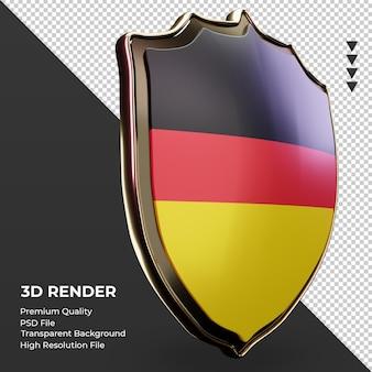 Escudo 3d bandeira da alemanha renderizando a vista esquerda
