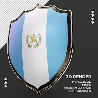 Escudo 3d bandeira da guatemala renderizando vista correta