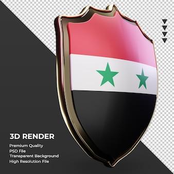 Escudo 3d bandeira da síria renderizando vista esquerda