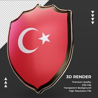 Escudo 3d bandeira da turquia renderizando a vista correta