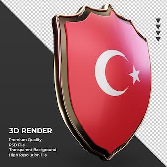 Escudo 3d bandeira da turquia renderizando a vista esquerda