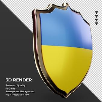 Escudo 3d bandeira da ucrânia renderizando a vista esquerda