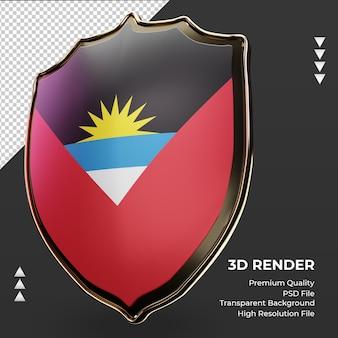 Escudo 3d bandeira de antígua e barbuda renderizando vista correta