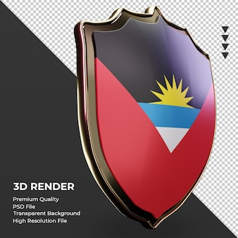 Escudo 3d bandeira de antígua e barbuda renderizando vista esquerda