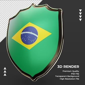 Escudo 3d bandeira do brasil renderizando vista correta