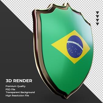 Escudo 3d bandeira do brasil renderizando vista esquerda