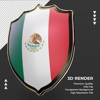 Escudo 3d bandeira do méxico renderizando vista correta