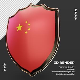 Escudo 3d da bandeira da china renderizando a vista correta