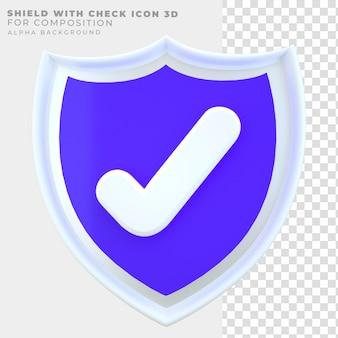 Escudo de renderização 3d com ícone de seleção