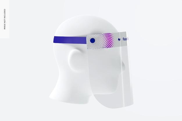 Escudo facial com maquete de cabeça, vista esquerda