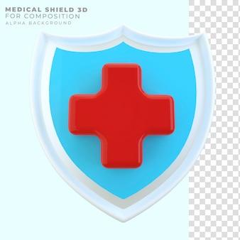 Escudo médico de renderização 3d