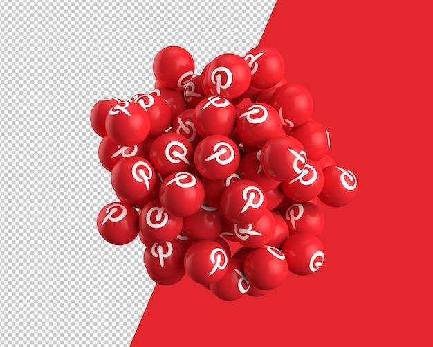Esferas 3d do ícone do pinterest