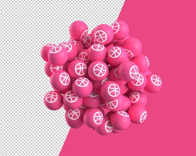 Esferas 3d do ícone dribbble